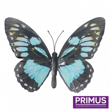 Metal Butterfly in Light Blue and Black