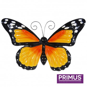 Large Metal Butterfly with Flapping Wings Orange