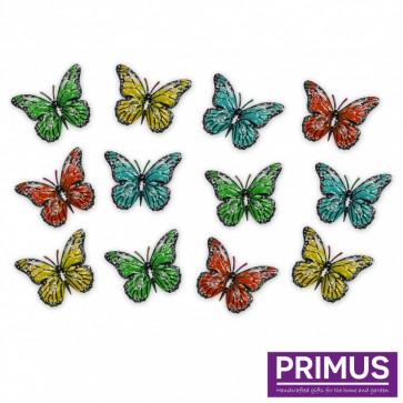 Pack of 12 Multicoloured Metal Butterflies