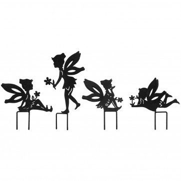 Set Of 4 Small Fairies with Stakes in Black