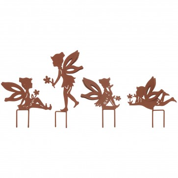 Set Of 4 Small Fairies with Stakes in Rust