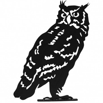 Owl Garden Silhouette with Fixing Plate in Black