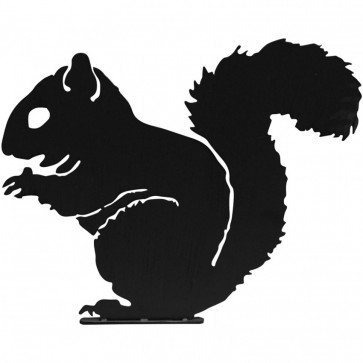Squirrel Garden Silhouette with Fixing Plate in Black