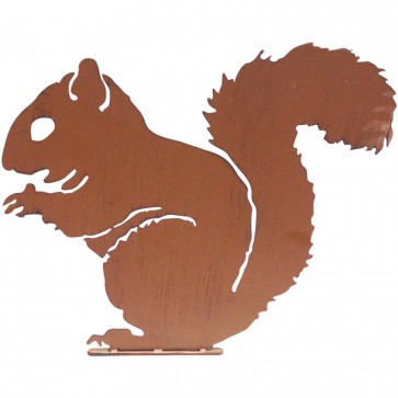 Squirrel Garden Silhouette with Fixing Plate in Rust