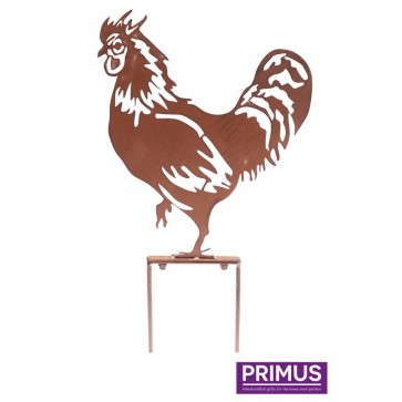 Rooster Garden Silhouette with Stake in Rust