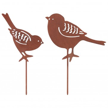 Set Of 2 Small Birds in Rust