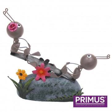 Miniature Metal Life Ant Couple on Seesaw