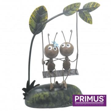 Miniature Metal Life Ant Couple on Swing