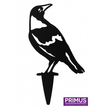 Crow 2 Garden Silhouette with Fixing Plate in Black