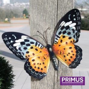 Metal Butterfly in Orange and Black