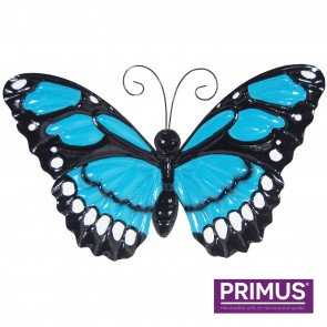 Large Metal Butterfly with Flapping Wings Blue