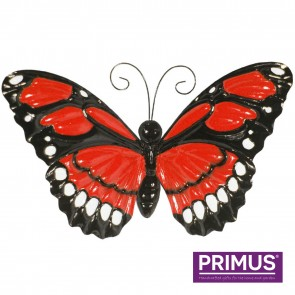 Large Metal Butterfly with Flapping Wings Red