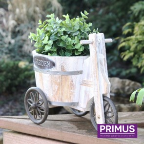 Wooden Tricycle Barrel Planter