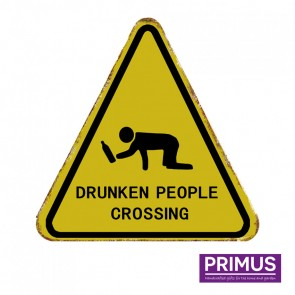 Drunk People Crossing Road Sign Plaque - 35 x 35cm