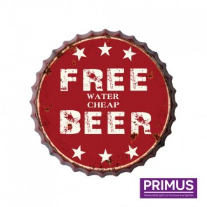 Free Water, Cheap Beer Metal Circle Plaque - 33cm