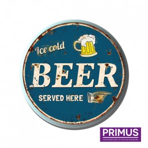 Beer Served Here Metal Circle Plaque - 34cm