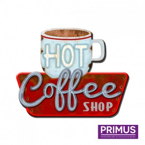 Hot Coffee Shop Plaque - 38 x 48cm