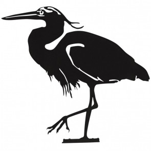 Heron Garden Silhouette with Fixing Plate in Black