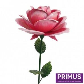 Giant Metal Rose Garden Stake - Pink