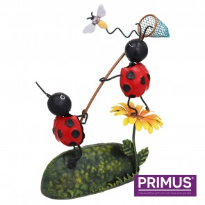 Miniature Metal Life Ladybird Catching Bee