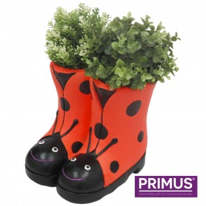 Ladybird Boots Planter (Frost Proof Polyresin) Red