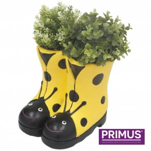 Ladybird Boots Planter (Frost Proof Polyresin) Yellow