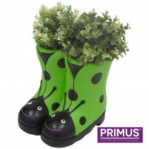 Ladybird Boots Planter (Frost Proof Polyresin) Green