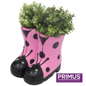 Ladybird Boots Planter (Frost Proof Polyresin) Pink