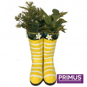 Hanging Pair of Wellies Metal Planter Yellow