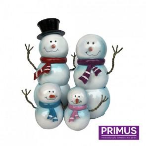 Miniature Metal Snowman Family