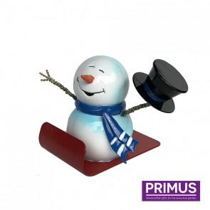Miniature Metal Snowman On Sleigh