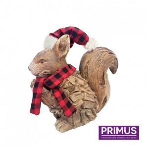 Wood Effect Xmas Squirrel