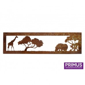 Rusted Metal African Savannah Giraffe and Hippo